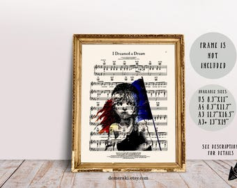 Book Lover Gift, Bookish Gift, Les Misérables Print, Music Sheet Print, I Dreamed a Dream Music Sheet, Cosette, Victor Hugo