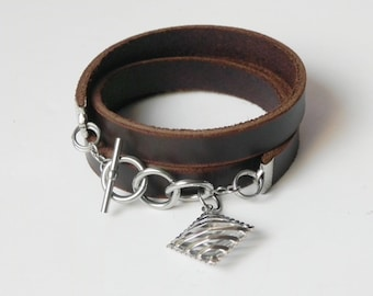 Brown Leather Bracelet Leather Wrap Bracelet Leather Cuff Bracelet with Stainless Clasp and Charm