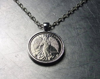 guardian vintage silver pendant brass token coin ttrg nickel market etsy il copper necklace angel