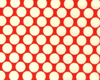 Lotus by Amy Butler for Rowan Fabrics - Full Moon Polka Dot - Cherry - Red - 1/2 Yard Cotton Quilt Fabric 816