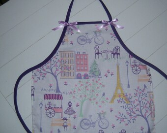 Child's Lavender Apron with French Theme