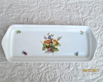 Vintage French Plate, sandwich plates, serving plates, summer dining, floral plates, porcelain platters