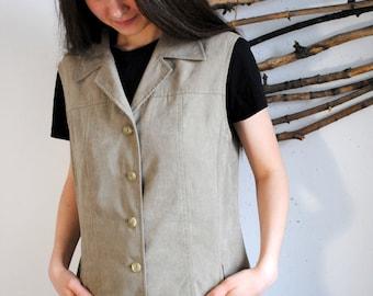 Vintage womens Vest 90s 60s Beige Waistcoat