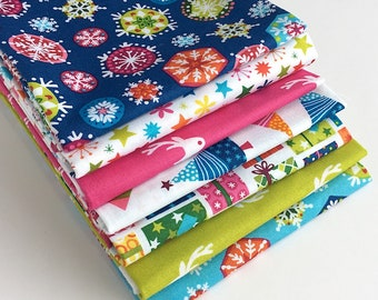 Joyeux Christmas Fat Quarter Bundle - 7pc - Christmas Fabric, Fabrics for Quilting