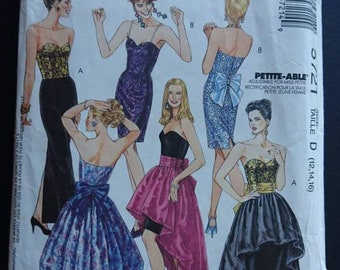 "Spaghetti straps or strapless boned evening dress- Mccalls 5721 uncut b34"" b36"" b38"" dress pattern think satin  taffeta peau de soie"