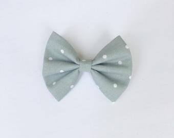 Gray polka dot hair bow, gray polka dot bow, hair accessory, mybowcloset, girls hair bows, hair bows