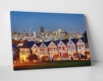 San Francisco Painted Ladies Skyline Gallery Wrapped Canvas Print