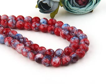 Tibetan Glass Mala Beads, 8mm Marbled Mala Beads, 8mm Glass Beads, Meditation Beads, Red-Blue, 1 strand (45-50 beads) // BD-068