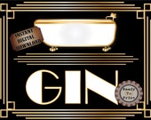 Homemade Gin Sign Printable ~ Roaring 20s Prohibition Art Deco Gatsby Party ~ Gold Wedding Speakeasy Event Illuminate Text ~ Bathtub Poster
