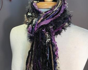 Long Fringie in Memiors, Fringe Scarf, Handmade hand-tied art yarn scarf in blue black purple, bohemian, gifts, long scarf, ribbon scarf