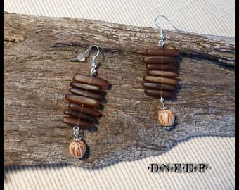 Brown Horn earrings and old Palm #51 beads
