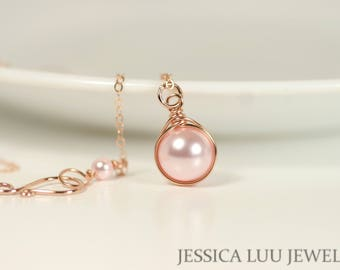 Rose Gold Black Pearl Necklace Wire Wrapped Jewelry Handmade