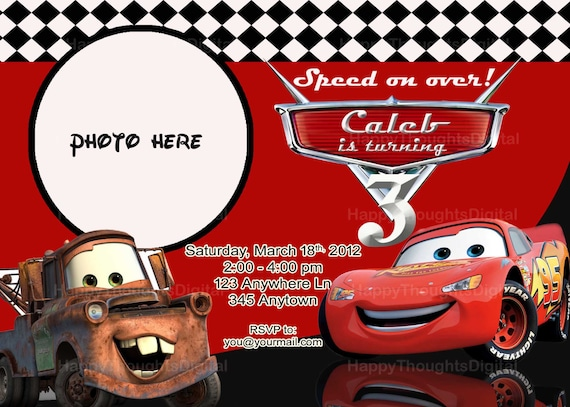 Pixar Cars Lightning Mcqueen Invitation Digital Diy Print