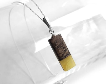 Modern Rectangle Amber Necklace, Wood Amber Pendant Chain Necklace Baltic Yellow Amber Sterling Silver Chain, Wood Jewelry