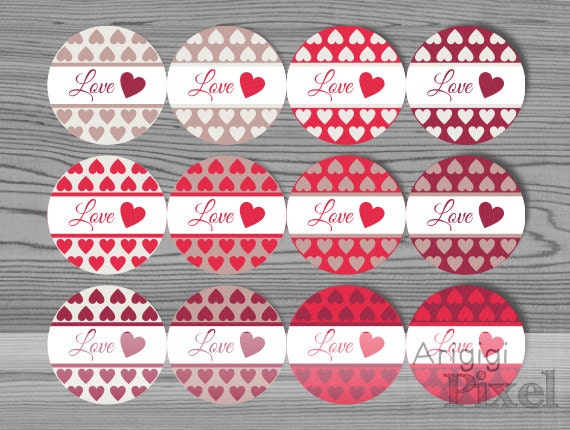 Printable Valentines Day Label Template Love Round Stickers Red