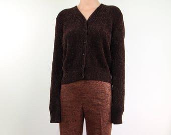 VINTAGE Sweater 1990s Fuzzy Sweater Bronze Metallic Brown Cardigan Medium Large
