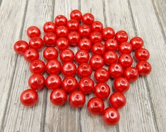 8mm Glass Pearls - Orange-Red - 50 pieces - Bright Burnt Orange