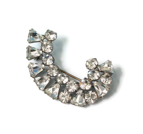 Curved Crystal Rhinestone Brooch Pin Diamante Wedding Special Occasion