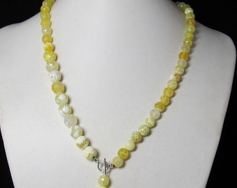 Necklace 52cm IN Yellow Fire Agate faceted and 925 Silver