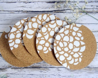 New home gift, housewarming gift, cork coasters, modern coasters, drink coasters, contemporary coasters, round coasters, set of 5