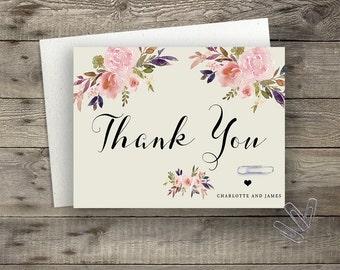 Floral Wedding Thank You Card Printable Boho Chic Wedding Suite Bohemian Wedding Thank You Card Modern Typography Spring / Summer Wedding