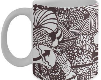 """B/W Zentangle Mug - Tangle Art hand drawn by Zenjoanie """"Illumination"""" - Authentic Zentangle Stuff Make Great Gifts"""