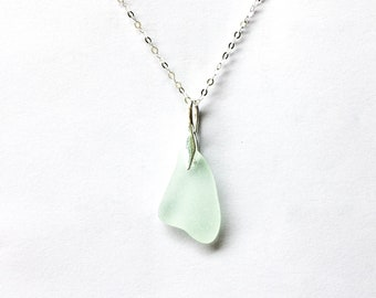 Sea glass 'Combesgate' seafoam pendant on sterling silver, rare beach glass, sea glass jewellery, seaglass jewelry, mermaid