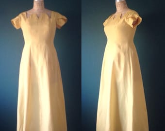 Yellow gown- Gold gown- Mustard gown- Yellow dress- Rhinestone dress- Formal gown- Yellow prom dress-1970s dress-70s gown-Large