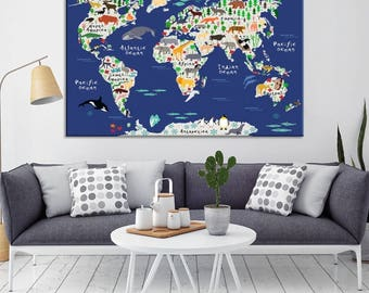 World map canvas etsy animal world map canvas print animal map for baby room wall decor nursery room gumiabroncs Image collections