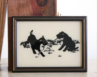 Vintage Framed Silhouette / Terrier Dogs / Black and White Decor