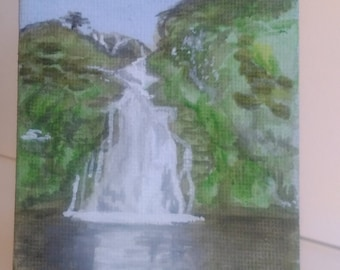 Eas a' Ranca Waterfall, Donegal, Ireland. watercolour on mini canvas 7x9cm and easel.