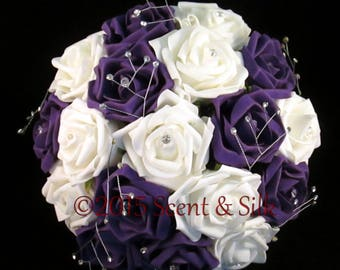 Wedding Bouquets, Brides, Bridesmaids, Purple and Ivory or Purple and White