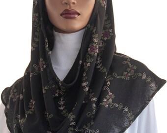 Koul SHôl Hoodie™  Head Hoodie Cowl Head Hoodie Veil Black Floral Vines Mesh Knit New Style Hoodie Veil Hijab Accessory Handmade