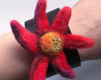 """Felted Red Flower Leather Bracelet, , Needle Felt, Small, 6-7"""" Wrist, Gold Snap, Cuff, Felted Wool Flower"""