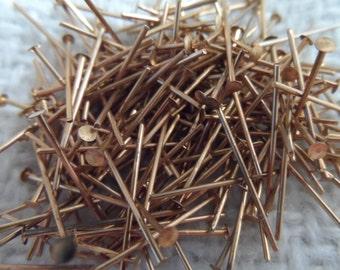 """Raw brass headpins 1"""",100pcs-CMP147"""