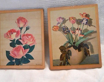 Mini Pink ROSE & Pastel TULIPS Set Retro Spring Pretties, Laminated Litho Photos 4 x 5 Wood Plaques Dated 1939 Moss USA, Birthday Gift
