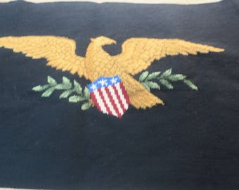 """Needlepoint Hand made Piano Bench Cover American Egle w Shield Petit Point background 34"""" w x 18"""" deep"""