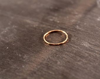 Thin Stacking Ring - ONE RING (Gold Sterling Silver Rose Gold Simple Hammered Minimalist Ring Gifts for her under 50)