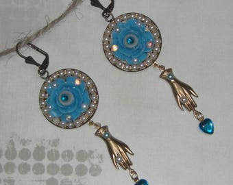 Vintage Blue Flower Earrings