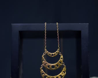 Moon Phase Necklace Gold Drop Pendant