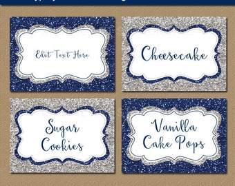 Wedding Place Cards, Printable Place Cards, Navy Silver Wedding Candy Buffet Labels, Navy Gray Wedding Labels, Food Tents, Food Labels B5