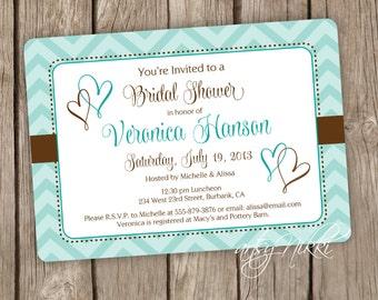 Bridal Shower Invitation - Wedding Shower Invitation - Script Shower Invitation, Aqua and Brown Chevron Hearts Shower Invitation - set of 20