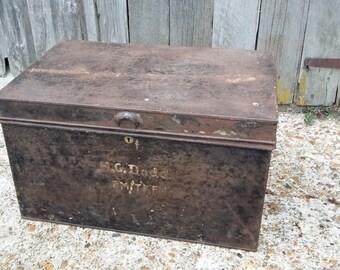 Vintage Tin Storage Box Coffee Table Side Table