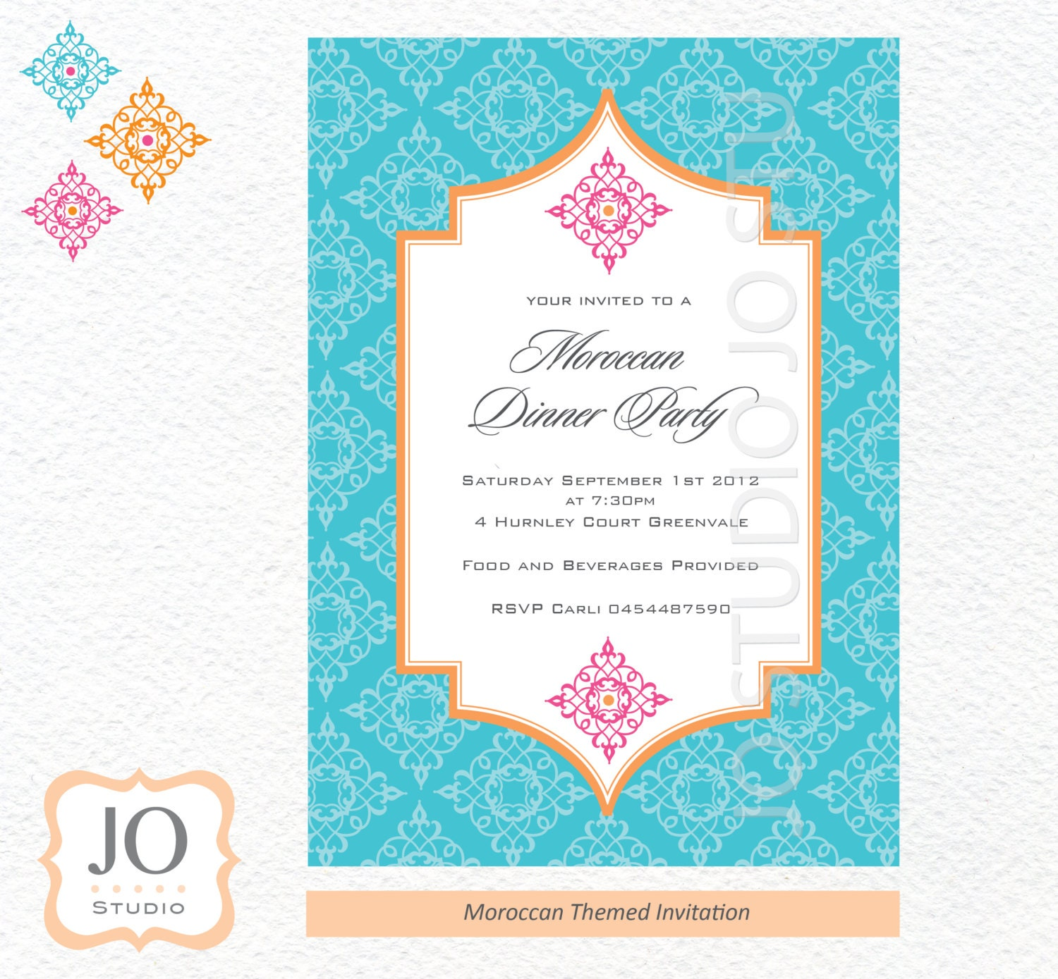 Moroccan Themed Invitation for a Moroccan Birthday / Blue & Orange