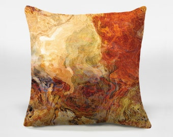Toss pillow cover with abstract art, 16x16 and 18x18 in red-orange, brown and cream, decorative pillow, accent pillow cover, Magma