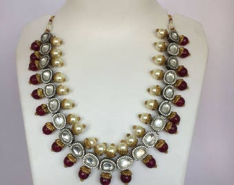 Indian Choker Necklace , Red Agate Necklace, Kundan Choker, Kundan Necklace, Indian Necklace, Bollywood Necklace, Wedding Jewelry