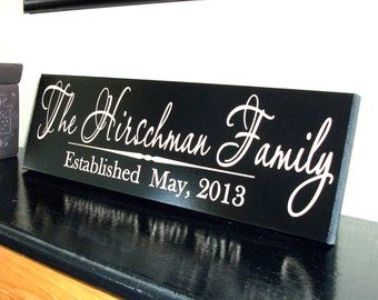 Personalized Family Name Sign Plaque Established Family Sign 8x22 Carved Engraved Wall Sign Wedding or Anniversary gift