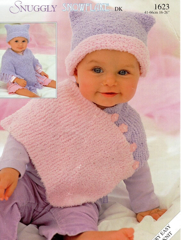baby ponchos knitting pattern childs ponchos & hats chenille newborn ...