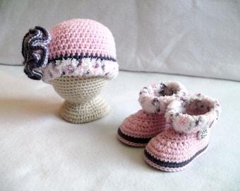 Crocheted Baby Girl's Hat & Booties Set Crocheted Pink Baby Girls Set Crocheted Pink Baby Hat and Booties Baby Girl's Set Purple Baby Set