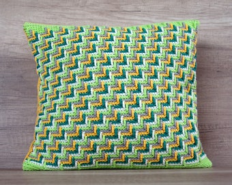 Greenery pillow case, vivid crochet pillow accent multicolor white green yellow decorative pillow case 16 x 16 (40 x 40 cm) - spring gift